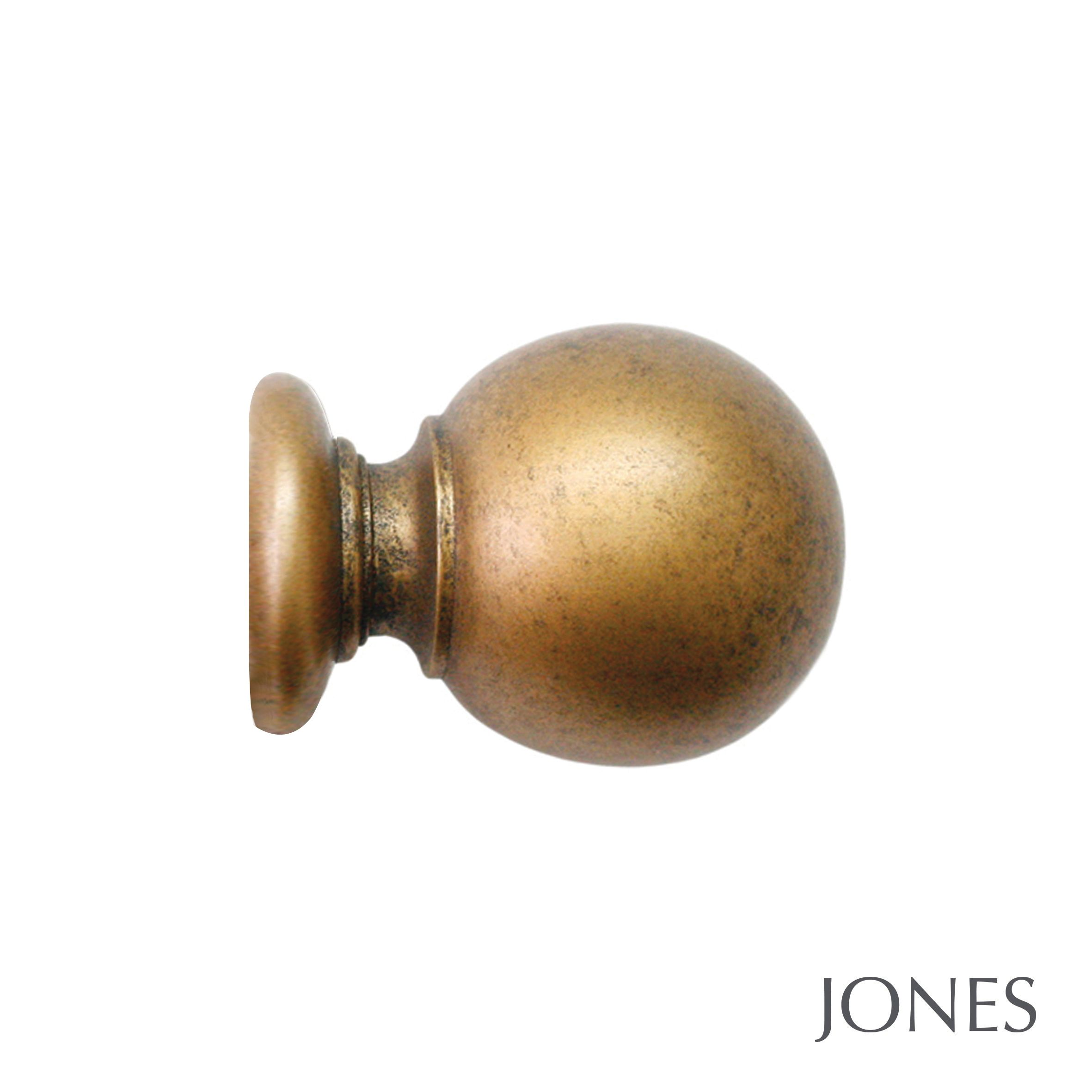 50mm Jones Florentine Ball Finial antique gold