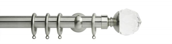Rolls Neo Metal Curtain Pole 28mm Clear Faceted Ball