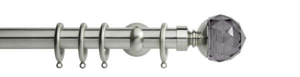 Rolls Neo Metal Curtain Pole 28mm Smoked Grey Faceted Ball