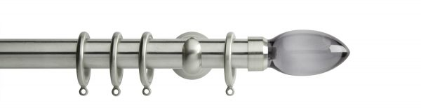Rolls Neo Metal Curtain Pole 28mm Smoked Grey Teardrop