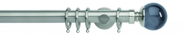 Rolls Neo Metal Curtain Pole 35mm Smoked Grey Ball