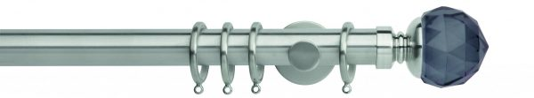 Rolls Neo Metal Curtain Pole 35mm Smoked Grey Faceted Ball