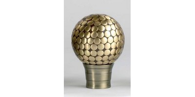 35MM GALLERIA FLAT STUD FINIAL BURNISHED BRASS