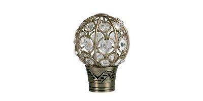 35MM GALLERIA JEWELLED CAGE FINIAL BURNISHED BRASS