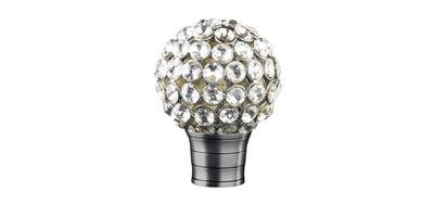 35mm Galleria Clear Jewelled Cage Finial brushed silver