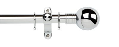 Galleria Metals 35mm Curtain Pole Orb With Rings Chrome