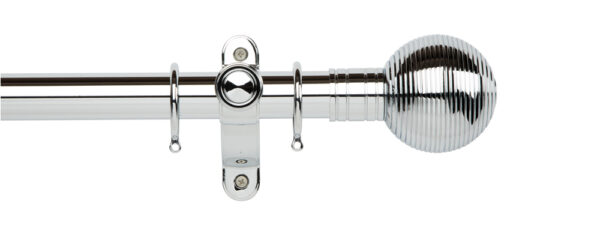Galleria Metals 35mm Curtain Pole Ribbed Ball With Rings Chrome