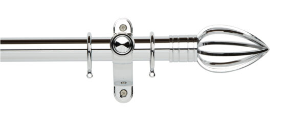 Galleria Metals 35mm Curtain Pole Caged Spear With Rings Chrome