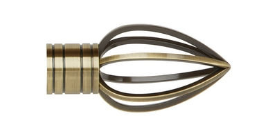 35MM GALLERIA CAGED SPEAR FINIAL SPUN BRASS