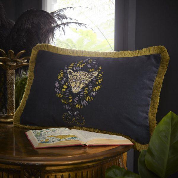 Emma J Shipley for Clarke & Clarke Amazon Rectangular Cushion Charcoal
