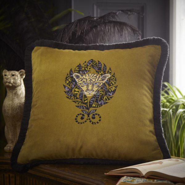 Emma J Shipley for Clarke & Clarke Amazon Square Cushion Gold