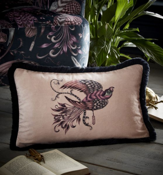 Emma J Shipley for Clarke & Clarke Audobon Rectangular Cushion Pink