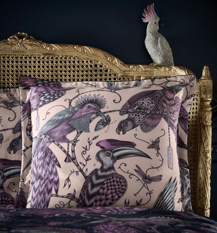 Emma J Shipley for Clarke & Clarke Audobon Square Oxford Pillowcase Pink