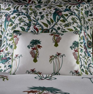 Emma J Shipley for Clarke & Clarke Jungle Palms Boudoir Pillowcase White