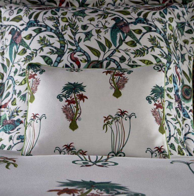 Emma J Shipley for Clarke & Clarke Jungle Palms Boudoir Pillowcase White