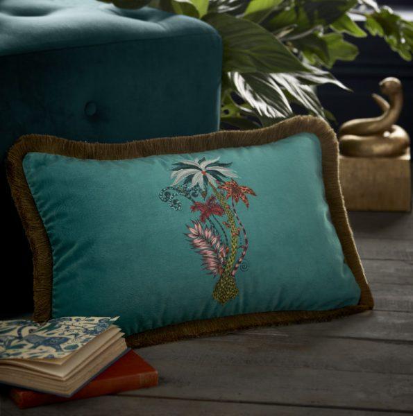 Emma J Shipley for Clarke & Clarke Jungle Palms Rectangular Cushion Teal
