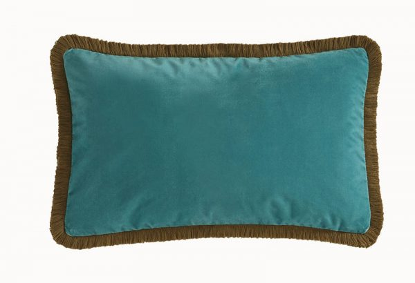 Emma J Shipley for Clarke & Clarke Jungle Palms Rectangular Cushion Teal reverse