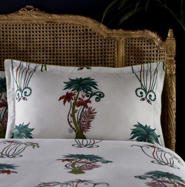 Emma J Shipley for Clarke & Clarke Jungle Palms Rectangular Oxford Pillowcase White
