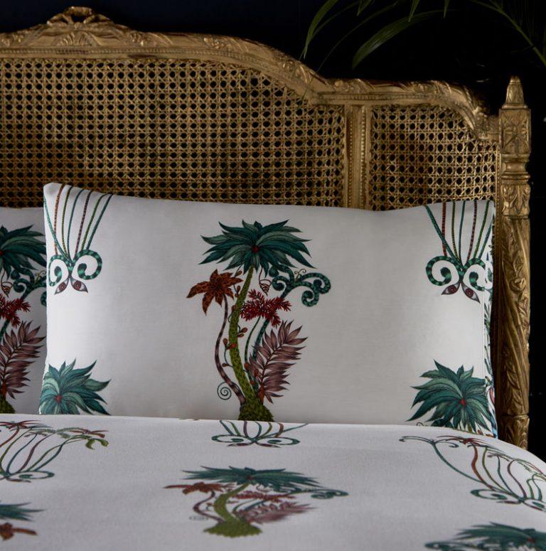 Emma J Shipley for Clarke & Clarke Jungle Palms Rectangular Standard Housewife Pillowcase Pair White