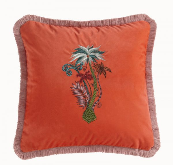 Emma J Shipley for Clarke & Clarke Jungle Palms Square Cushion Coral