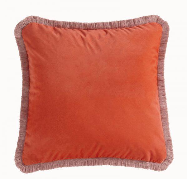 Emma J Shipley for Clarke & Clarke Jungle Palms Square Cushion Coral reverse