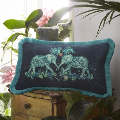 Emma J Shipley for Clarke & Clarke Zambezi Rectangular Cushion Teal