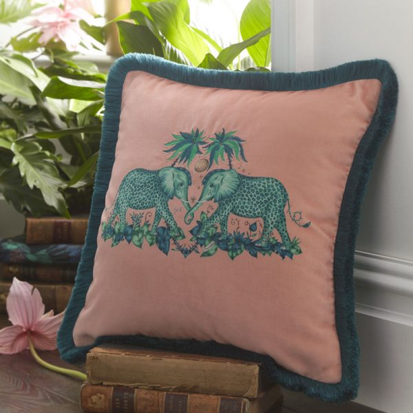 Emma J Shipley for Clarke & Clarke Zambezi Square Cushion Peach