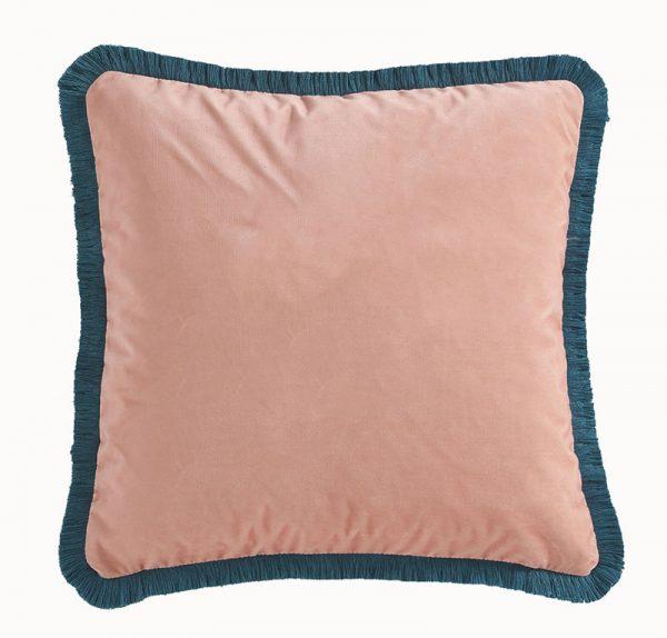 Emma J Shipley for Clarke & Clarke Zambezi Square Cushion Peach reverse