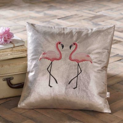 Oasis Home Flamingo Metallic Cushion