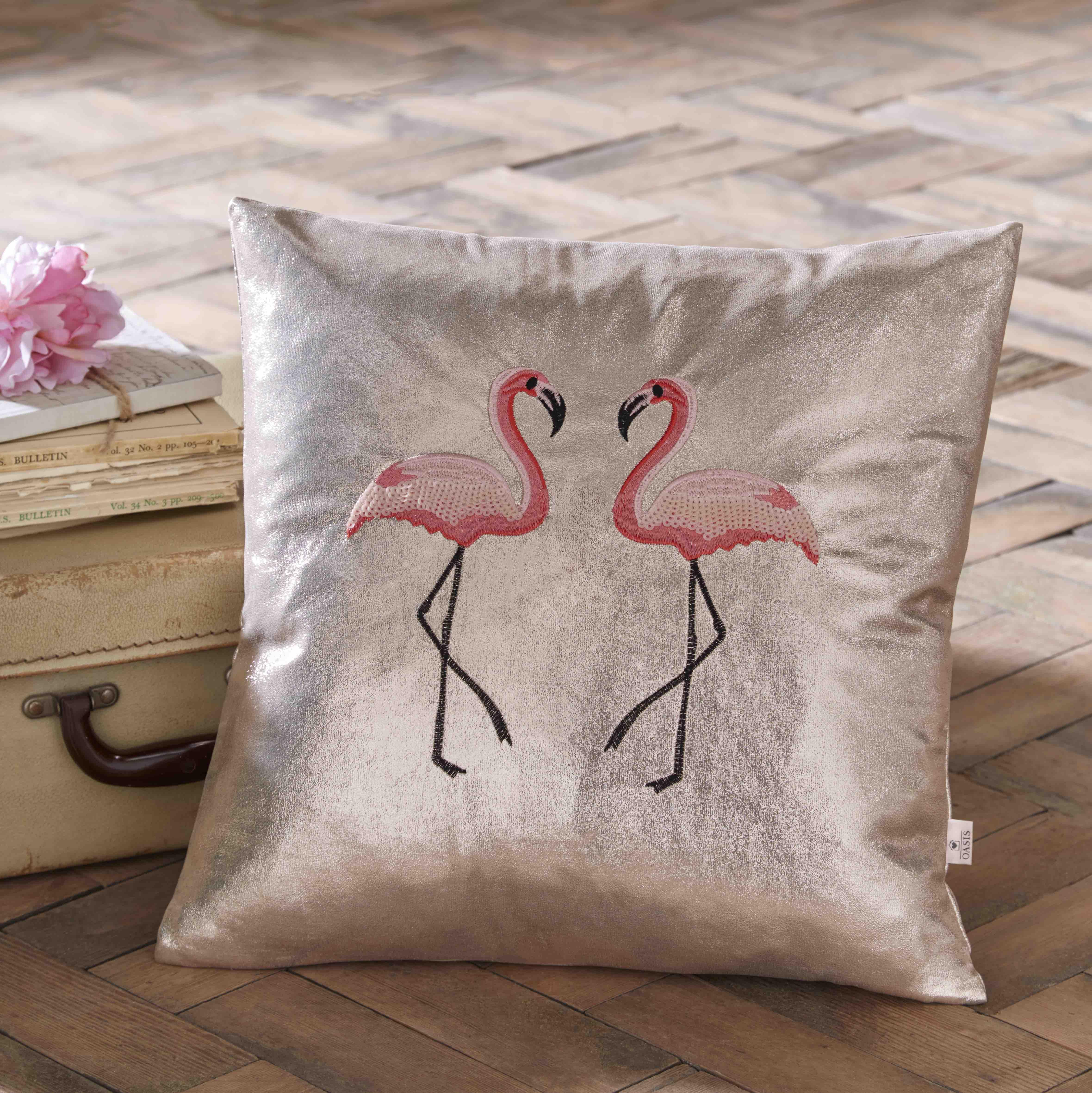 Oasis Home Flamingo Metallic Cushion