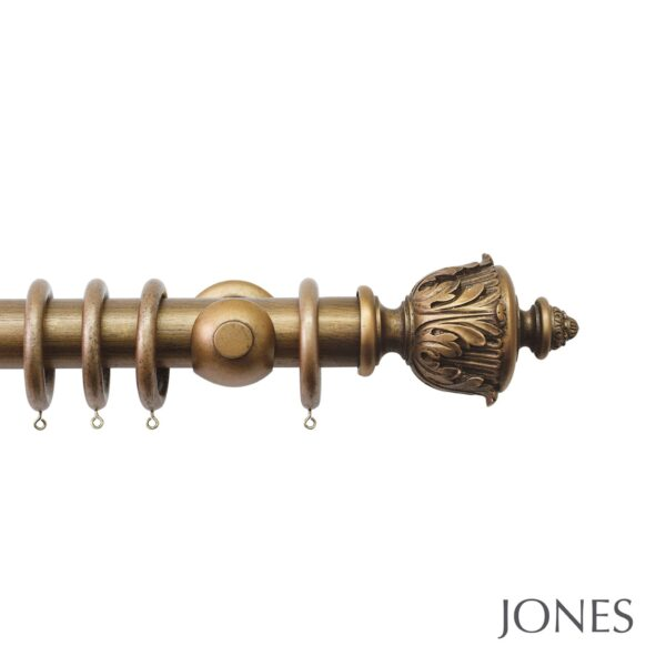 Jones Florentine Handcrafted 50mm Wooden Curtain Pole Acanthus