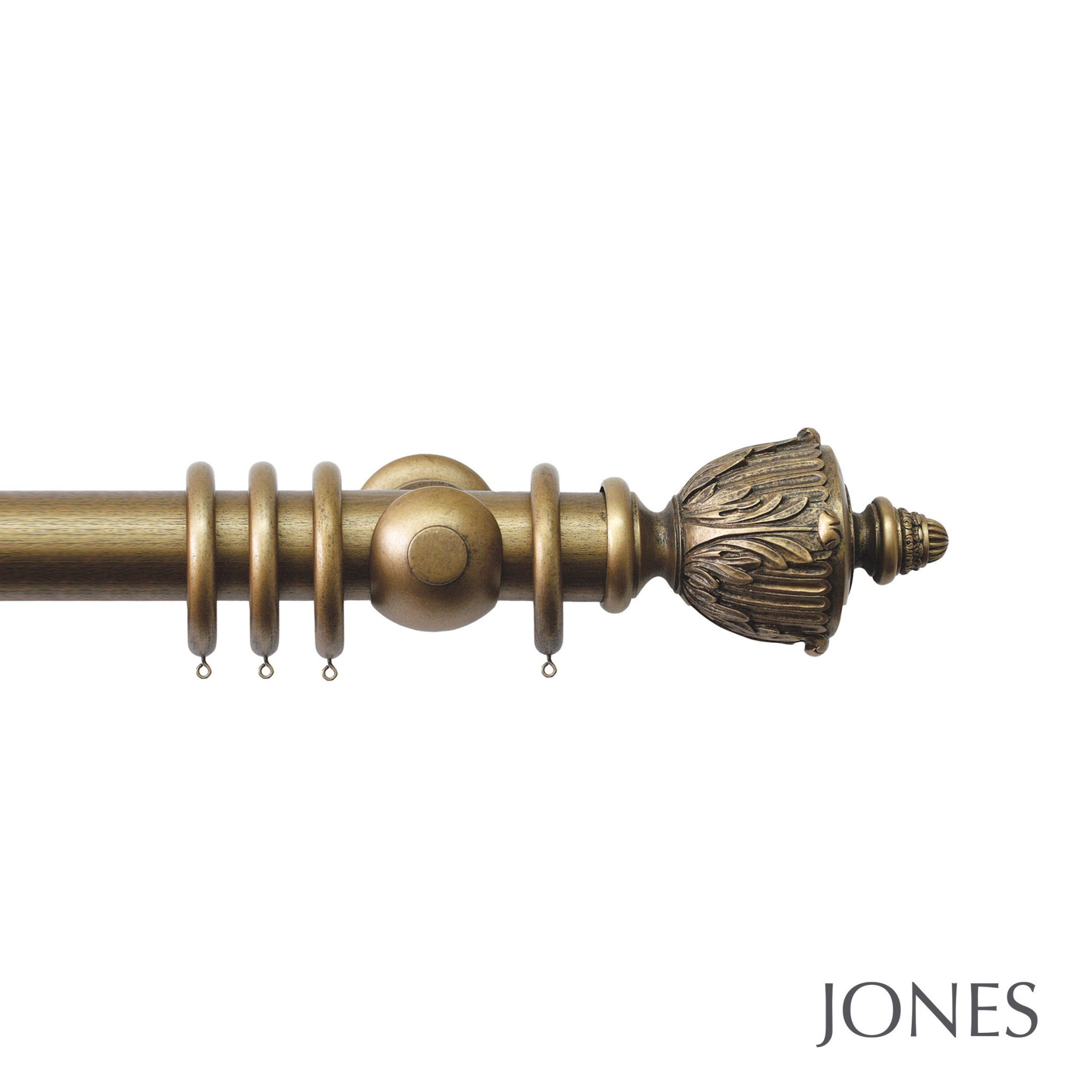 Jones Grande Handcrafted 63mm Wooden Curtain Pole Acanthus