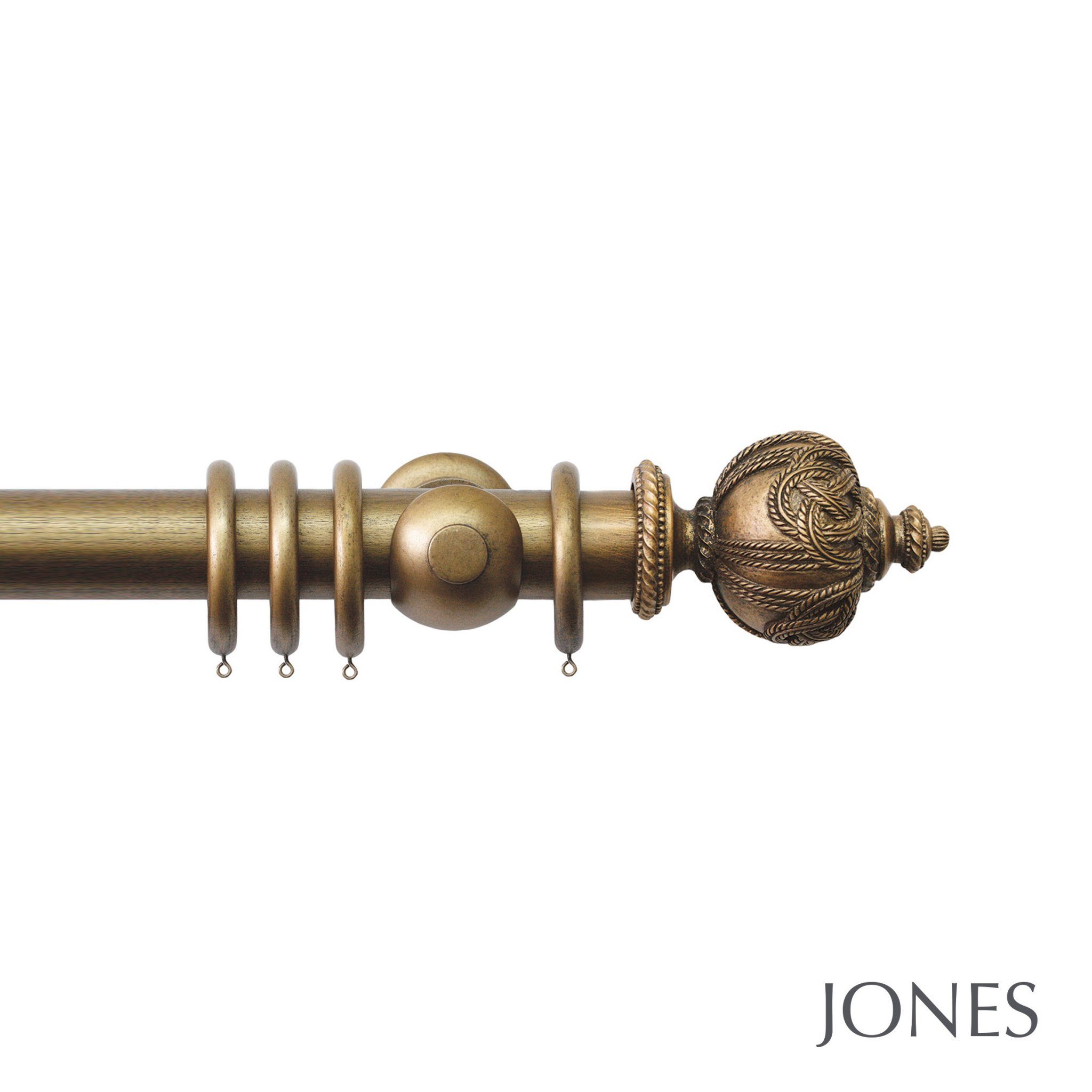 Jones Grande Handcrafted 63mm Wooden Curtain Pole Rope