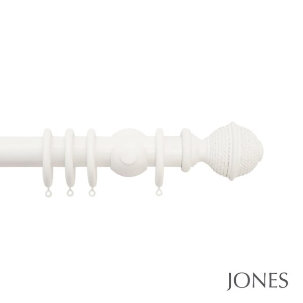 Jones Hardwick Handcrafted 40mm Wooden Curtain Pole Woven Rope