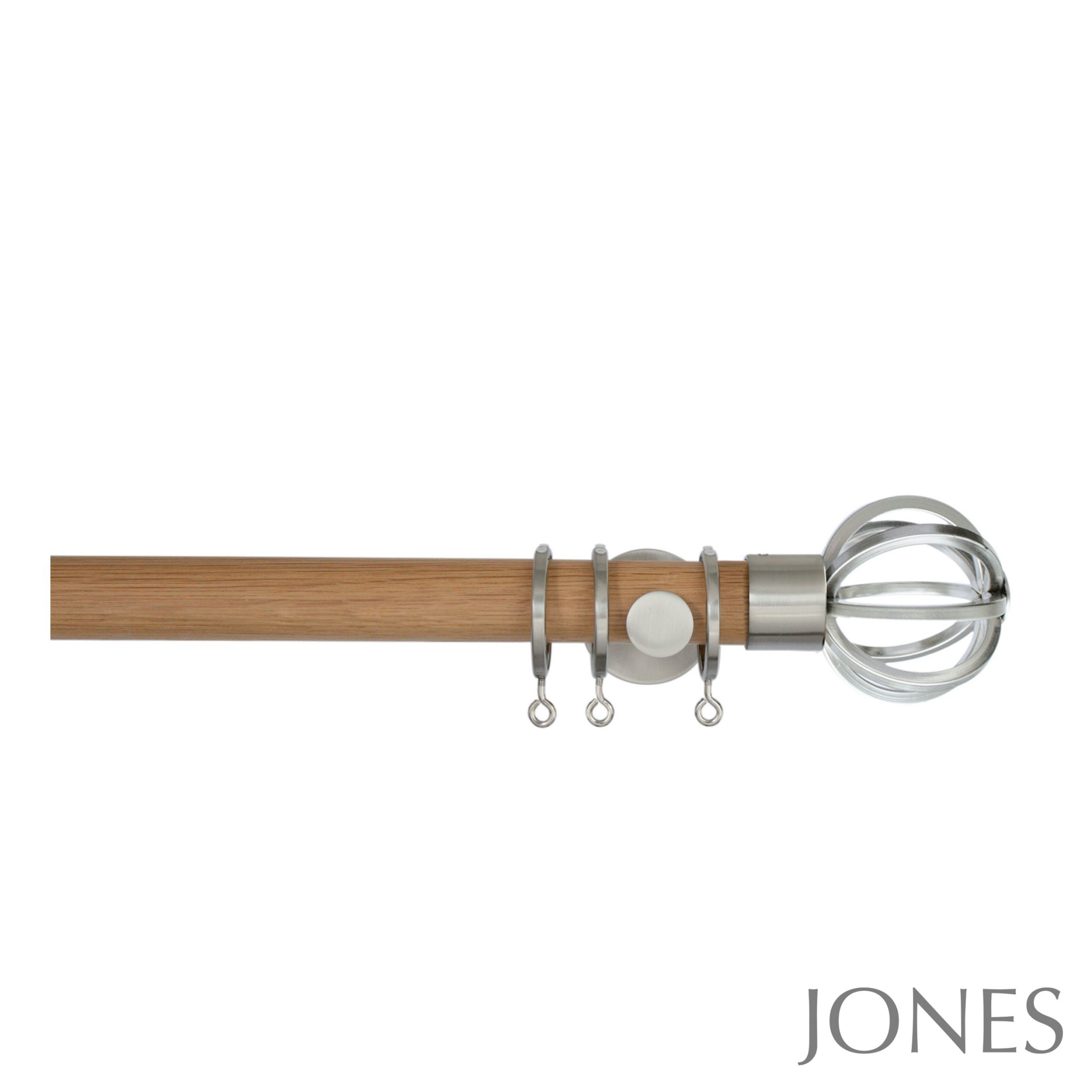 Jones Lunar 28mm Oak Curtain Pole with Cage Finials