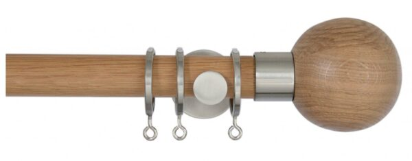 Jones Lunar 28mm Oak Curtain Pole with Oak Sphere Finials