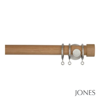 Jones Lunar 28mm Oak Curtain Pole with End Cap Finials