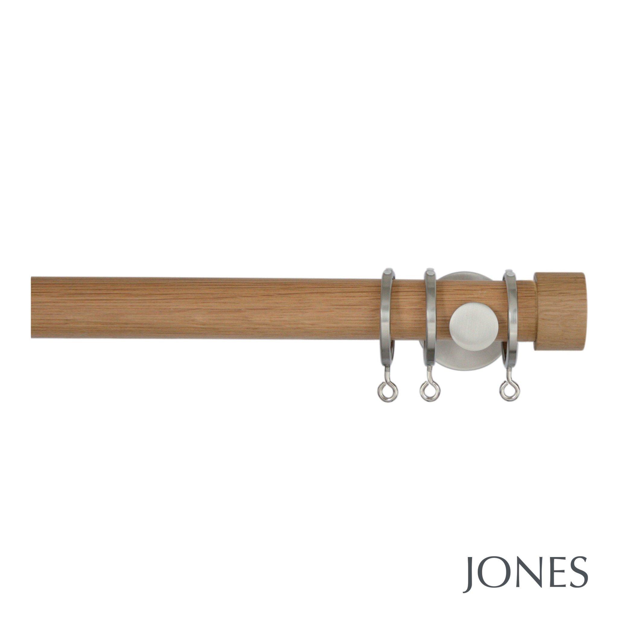 Jones Lunar 28mm Oak Curtain Pole With Oak End Cap Finials