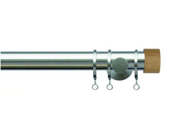 Jones Lunar 28mm Metal Curtain Pole with Oak End Cap Finials