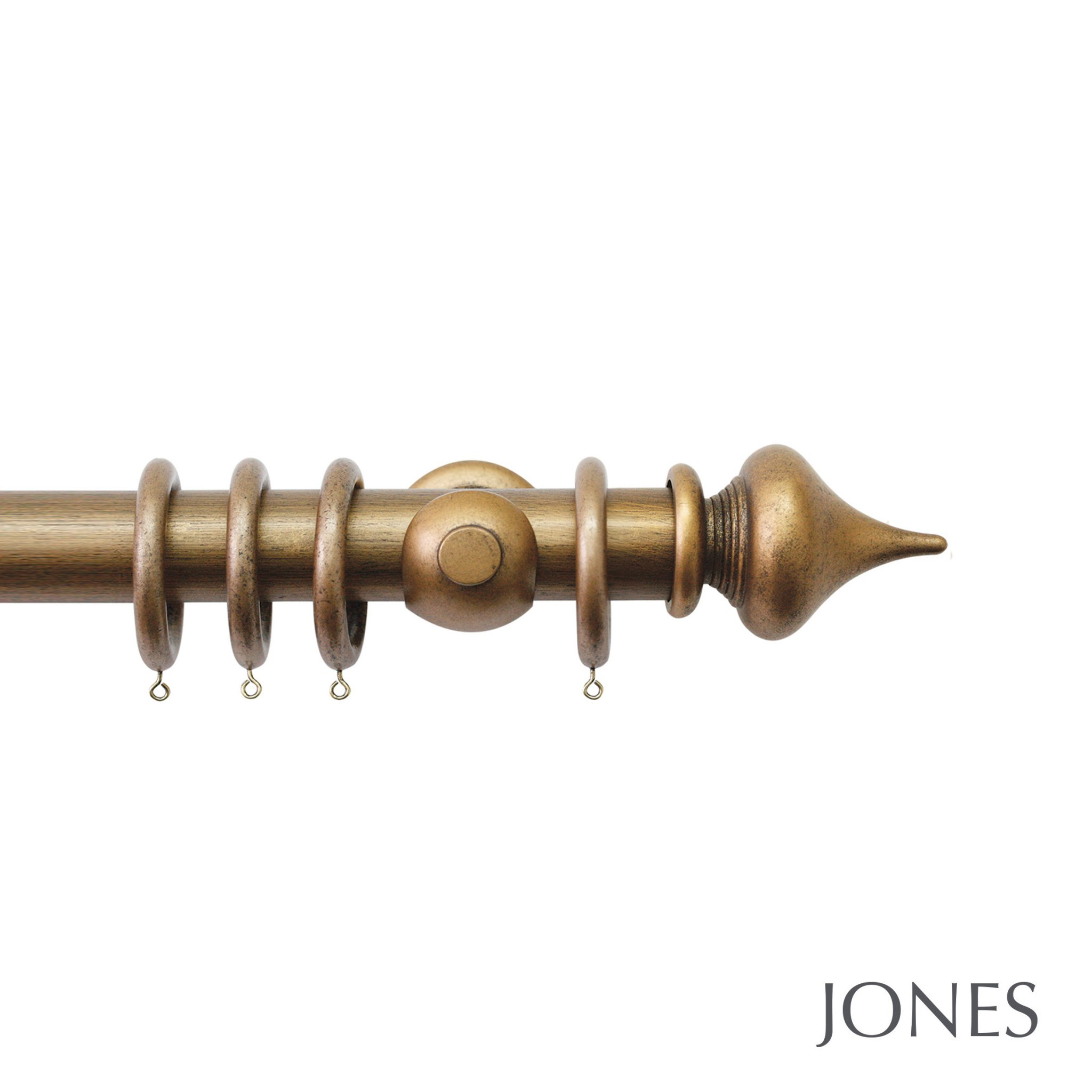 Jones Florentine Handcrafted 50mm Wooden Curtain Pole Minaret