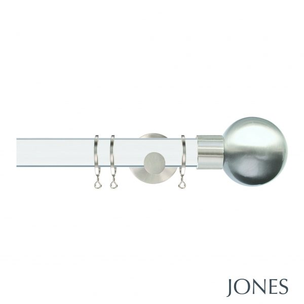 Jones Strand 35mm Acrylic Curtain Pole with Metal Ball Finials