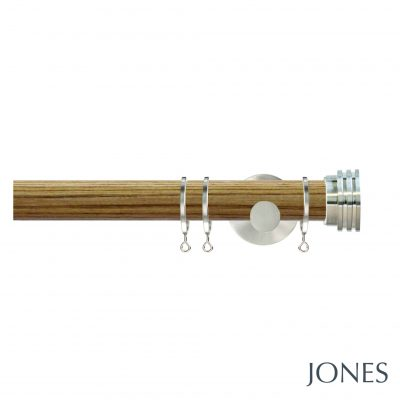 Jones Strand 35mm Oak Curtain Pole with Ribbed End Stopper Finials