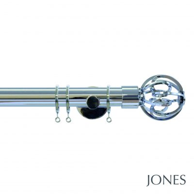 Jones Strand 35mm Metal Curtain Pole with Cage Finials