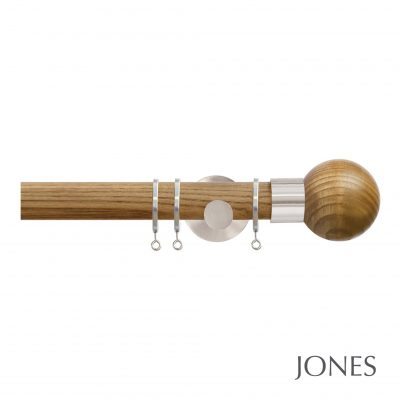 Jones Strand 35mm Oak Curtain Pole with Oak Ball Finials