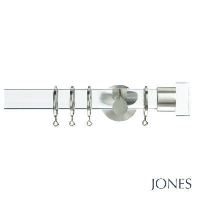 Jones Strand 35mm Acrylic Curtain Pole with Acrylic End Stop Finials