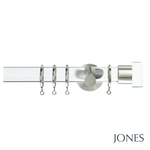 Jones Strand 35mm Acrylic Curtain Pole with Acrylic End Stop Finials