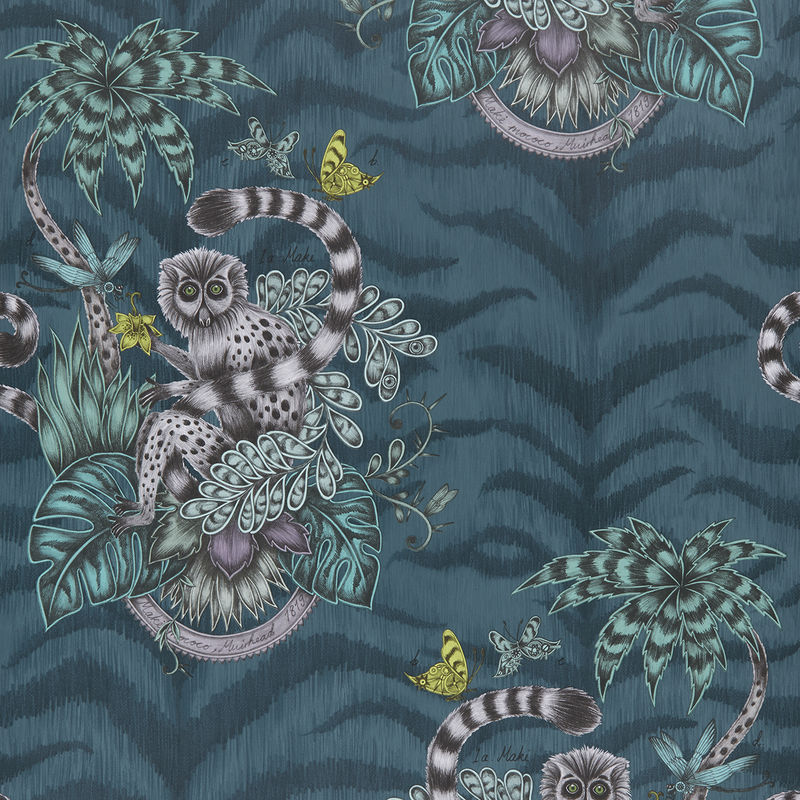 Emma J Shipley Wallpaper Lemur Navy