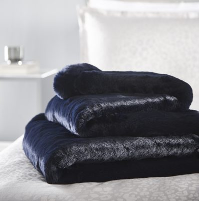 KAREN MILLEN NAVY FUR THROW