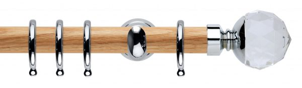 Rolls Neo Oak Curtain Pole 28mm with Clear Faceted Ball Finials