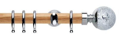 Rolls Neo Oak Curtain Pole 28mm with Mosaic Ball Finials